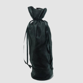 Black Dupion Silk Bottle Drawstring Pouch Bags