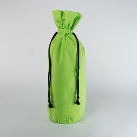 Green Natural Cotton Bottle Drawstring Gift Bags