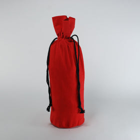 Red Natural Cotton Bottle Drawstring Gift Bags