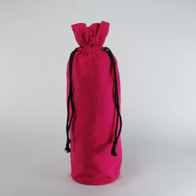 Fuchsia Natural Cotton Bottle Drawstring Gift Bags