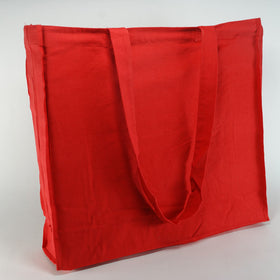 Red Natural Cotton Gusset Bags