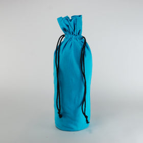 Aqua Blue Natural Cotton Bottle Drawstring Gift Bags