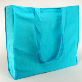 Turquoise Blue Natural Cotton Gusset Bags