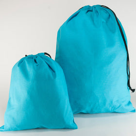 Turquoise Blue Natural Cotton Drawstring Bags