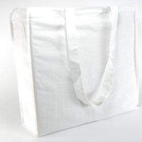 White Natural Cotton Gusset Bags