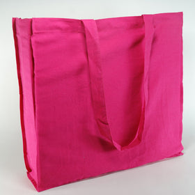 Fuchsia Natural Cotton Gusset Bags