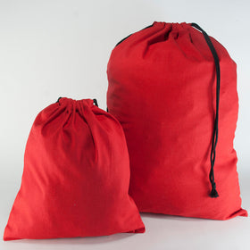Red Natural Cotton Drawstring Bags