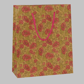 Aster Flower Brown Gift Bag Rope Handle
