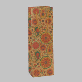 Ethnic Paisley Brown Bottle Gift Bag Rope Handle