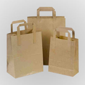 Natural Brown Carrier Bags Tape Handle