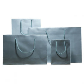 Silver Gloss Laminated Carrier Bags Rope Handle
