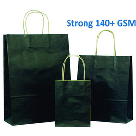 Strong Solid Black on Brown Carrier Bags with Twisted Handle