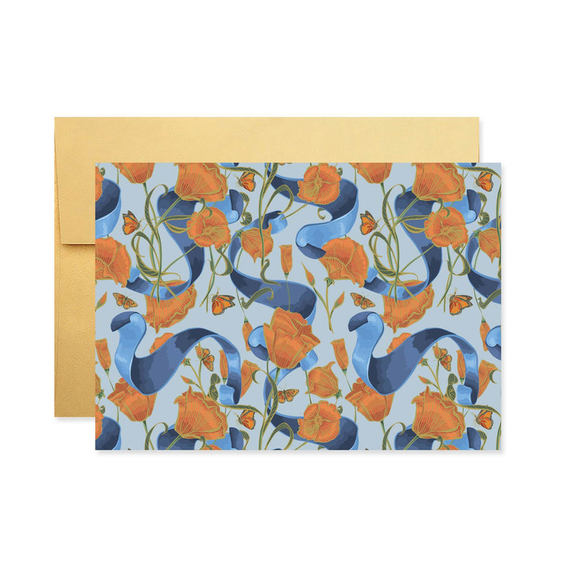 Poppies & Ribbon Stationery