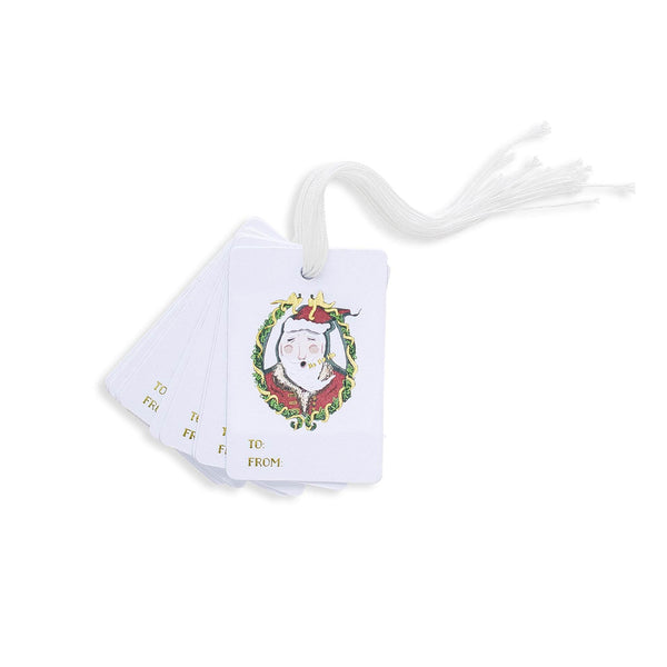 Santa Wreath Cameo Gift Tag Set