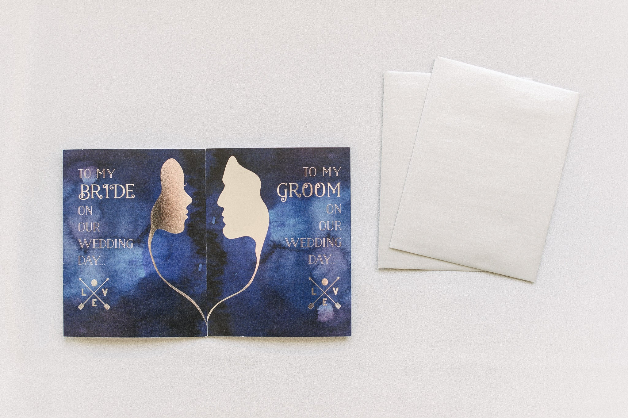 Two Halves of a Whole Bride and Groom Cards