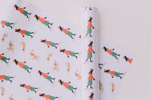 Snowy Dog Walk Gift Wrap
