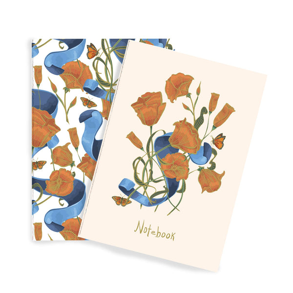 Poppies & Ribbon Notebook Duo