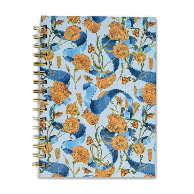 Poppies & Ribbon Spiral Notebook