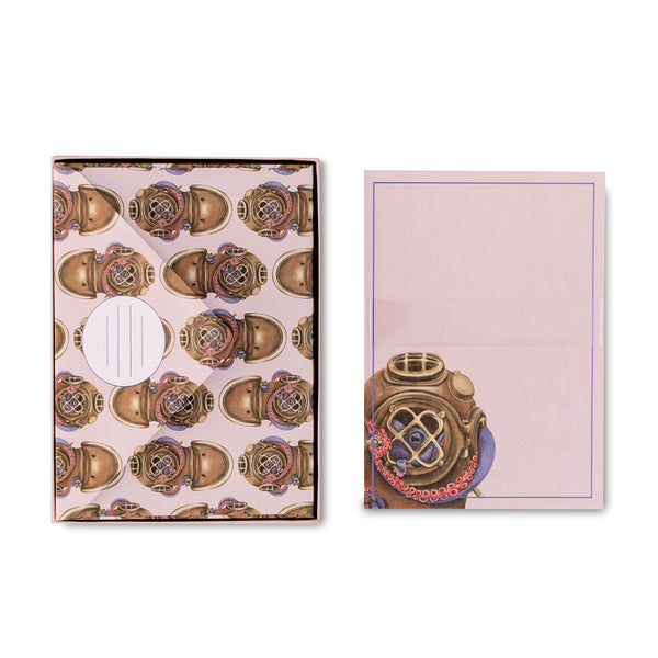 Pink Octopus Diver Stationery Set