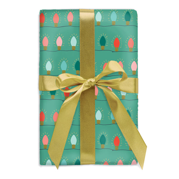 Green String Lights Gift Wrap