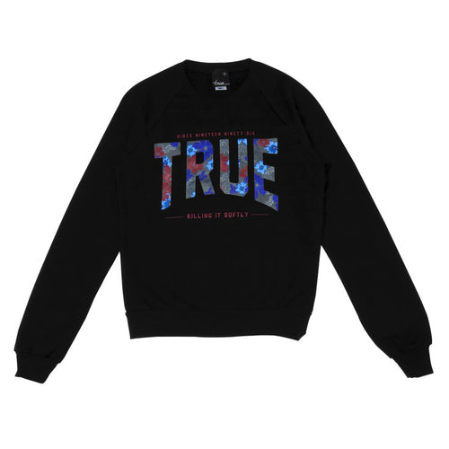 Womens True Floral 2 Crewneck Sweatshirt Black - Shop True Clothing