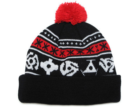 True 45 Pom Beanie Black/Red