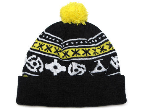 True 45 Pom Beanie Black/Yellow