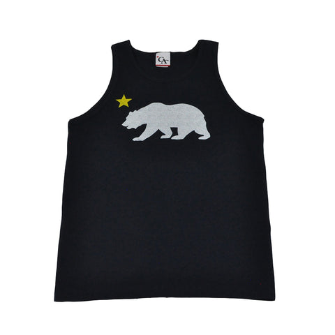 Cali Mens Bear Star Tank Top Navy