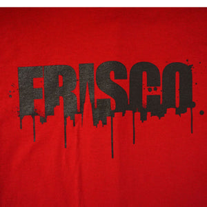 Mens SFCA Frisco Drips T-Shirt, Red with Black