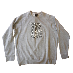 Mens True Fleck Crewneck Sweatshirt Heather Grey