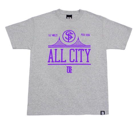Mens True All City T-Shirt Heather Purple