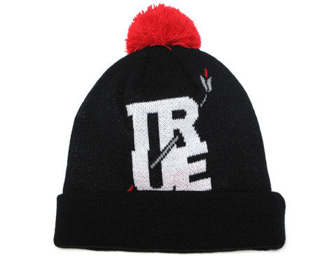 True Arrow Pom Beanie Black