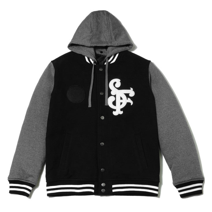 Mens Avoiding Letterman Jacket Black