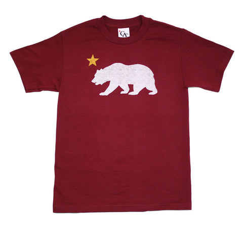 Mens Cali Bear Star T-Shirt Burgundy