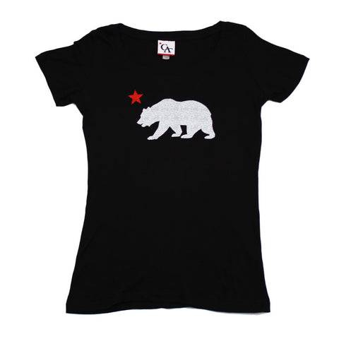 Womens Cali Bear Star T-Shirt Black