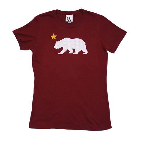 Womens Cali Bear Star T-Shirt Burgundy