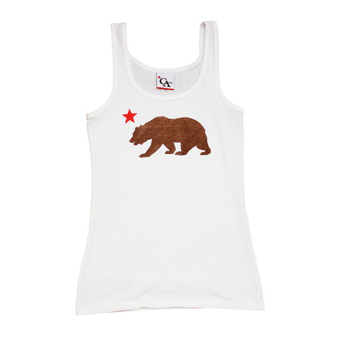 Womens Cali Bear Tank Top White