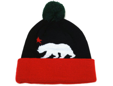 Cali Bear Pom Beanie Black/White/Red