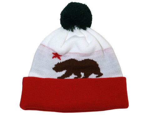 Cali Bear Pom Beanie White/Red/Brown