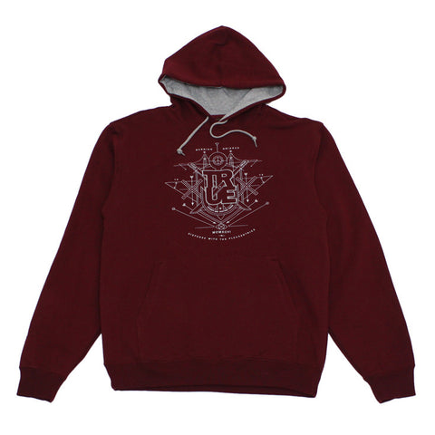 Mens True Burning Bridges Hoodie Burgundy