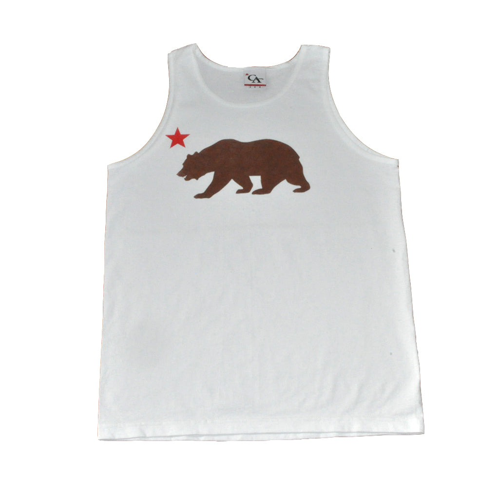 Cali Mens Bear Star Tank Top White - Shop True Clothing