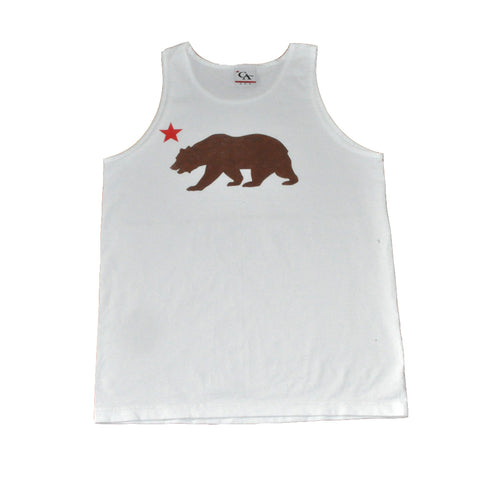 Cali Mens Bear Star Tank Top White