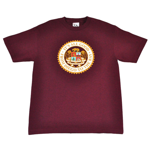 Mens Cali Assembly Seal T-Shirt Burgundy
