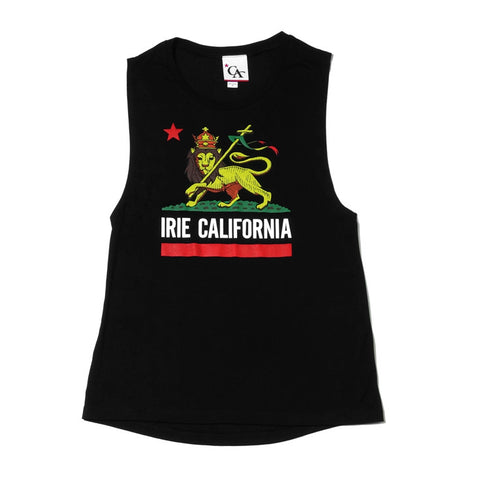 Womens Cali Lion Tank Top Black