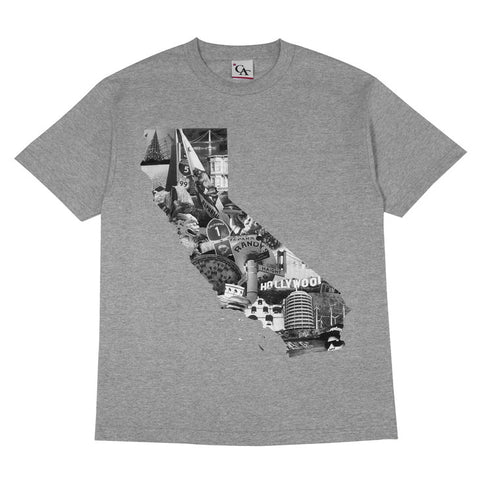 Mens Cali Photo T-Shirt Heather Grey