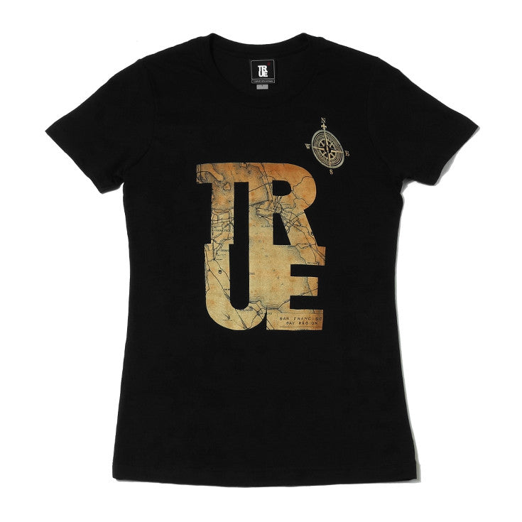 Womens True Compass T-Shirt Black
