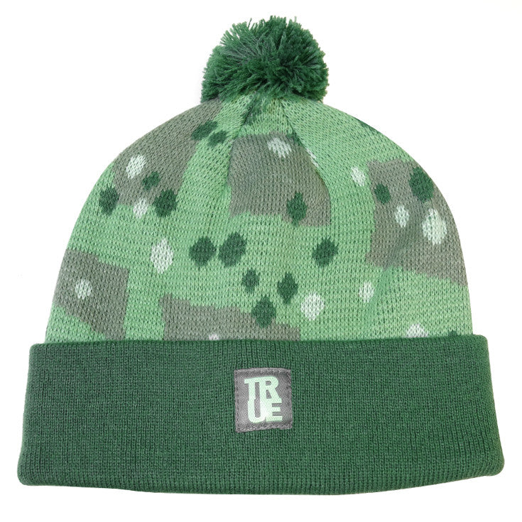 True Dot Camo Pom Beanie Green - Shop True Clothing