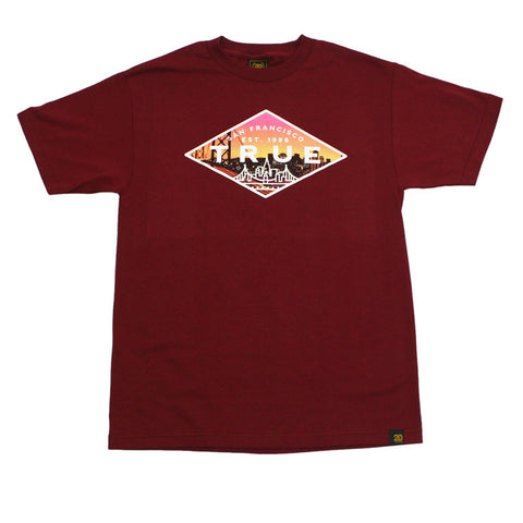 True Mens Established 2 T-Shirt Burgundy