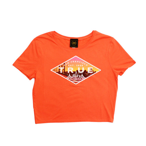 True Womens Established 2 Crop Top Peach - Shop True Clothing