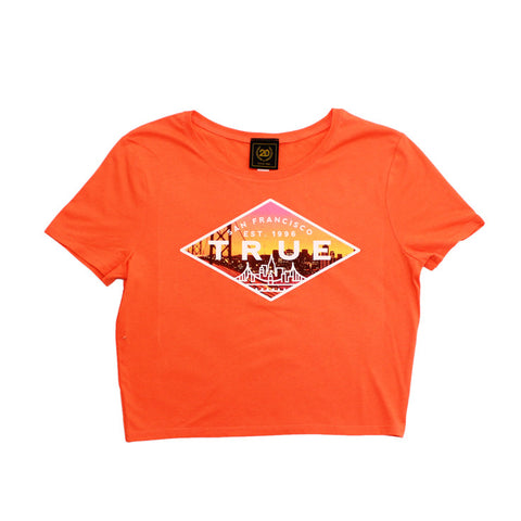 True Womens Established 2 Crop Top Peach